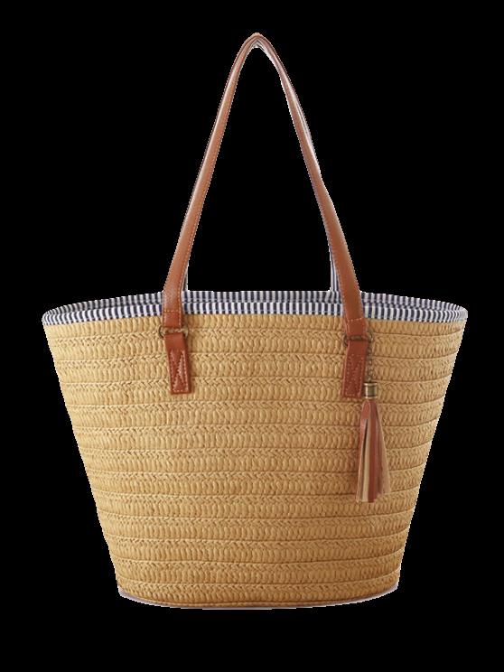 Bolsa de hombro borlas Weaving rayada - Marrón Claro