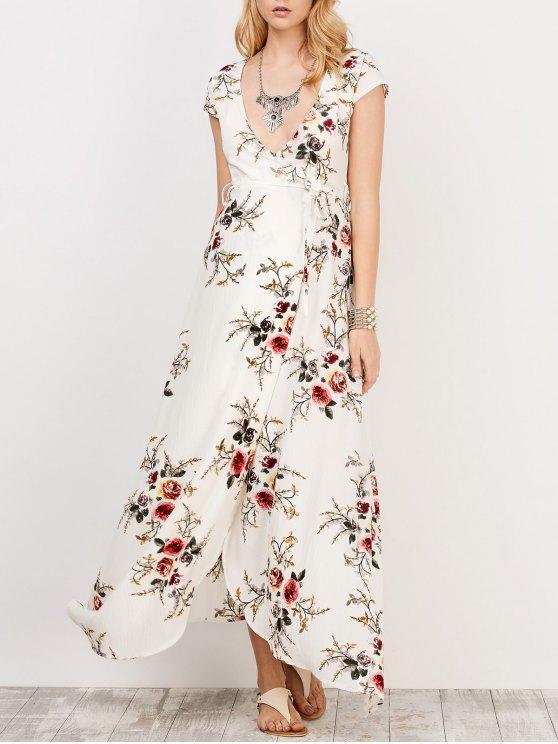 fancy Floral Print Short Sleeve Maxi Wrap Dress - WHITE M