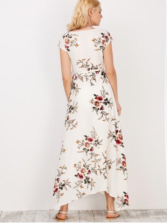 Floral Print Short Sleeve Maxi Wrap Dress - WHITE M Mobile