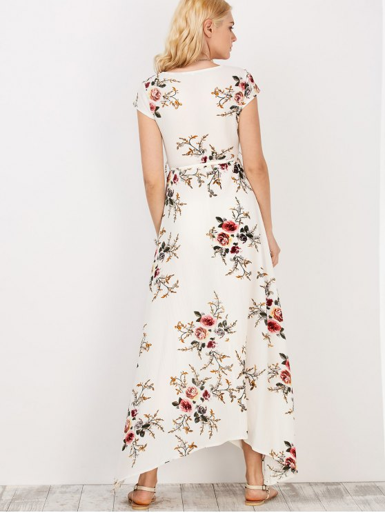 Floral Print Short Sleeve Maxi Wrap Dress - WHITE S Mobile