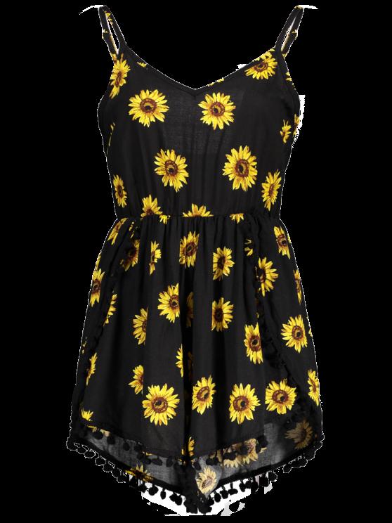Sunflower Print Cami Beach Romper - BLACK M Mobile