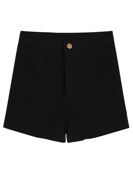High Waisted Denim Shorts - BLACK L Mobile
