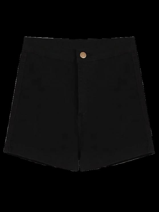 latest High Waisted Denim Shorts - BLACK S