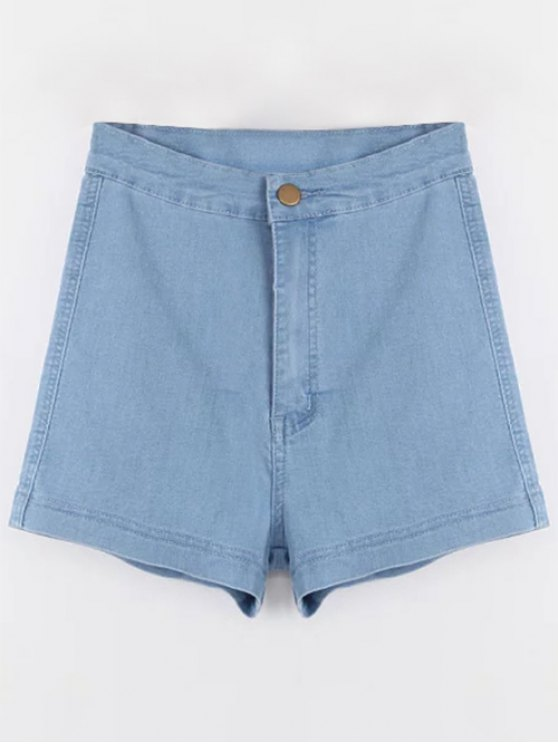 trendy High Waisted Denim Shorts - LIGHT BLUE L