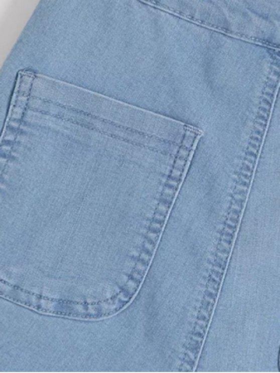 High Waisted Denim Shorts - LIGHT BLUE M Mobile