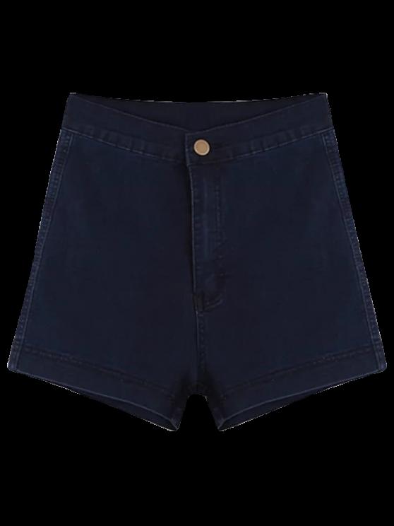 fancy High Waisted Denim Shorts - PURPLISH BLUE L