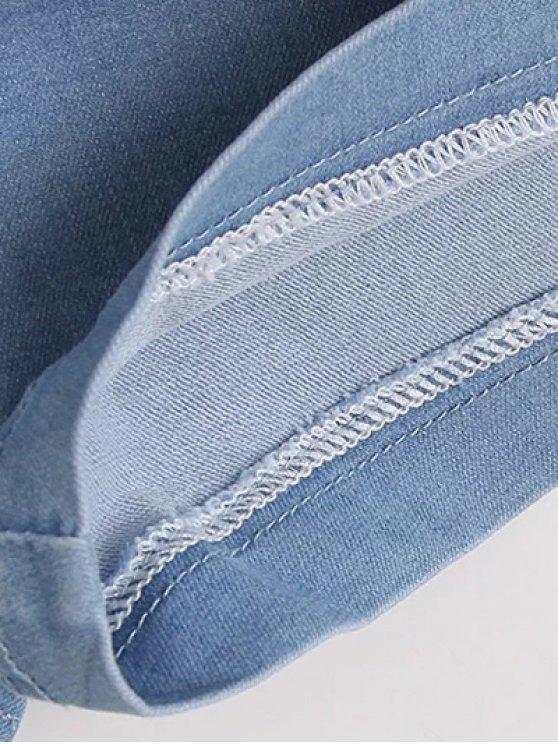 High Waisted Denim Shorts - PURPLISH BLUE M Mobile