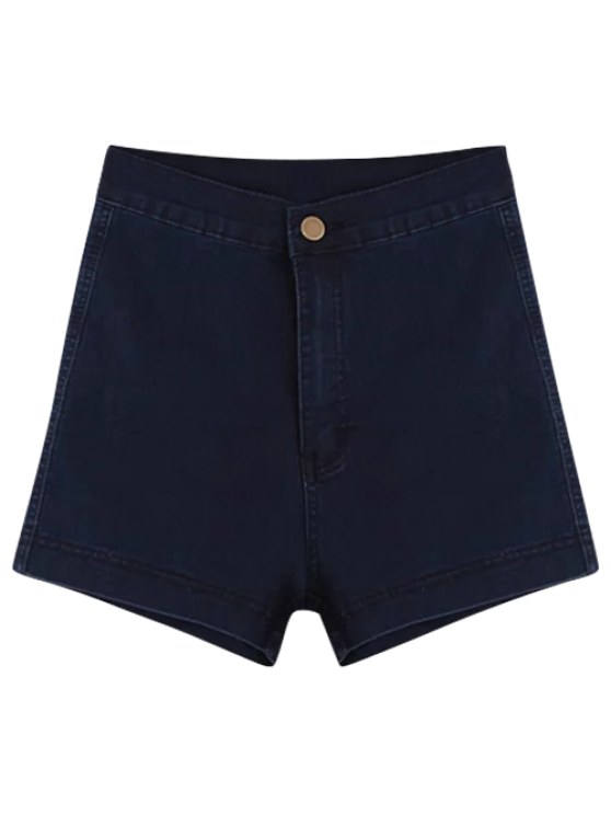 sale High Waisted Denim Shorts - PURPLISH BLUE S
