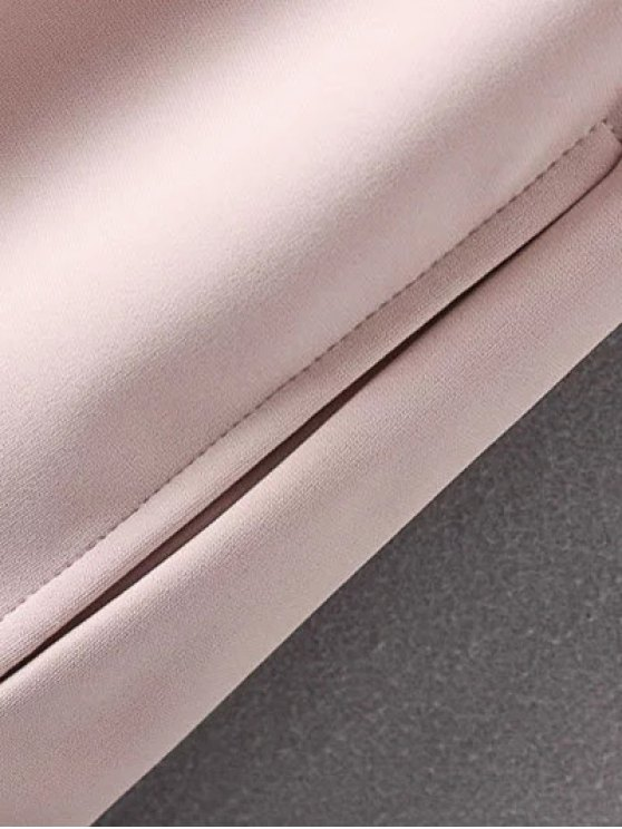 Ruffle Hem High Low Dress - PALE PINKISH GREY L Mobile