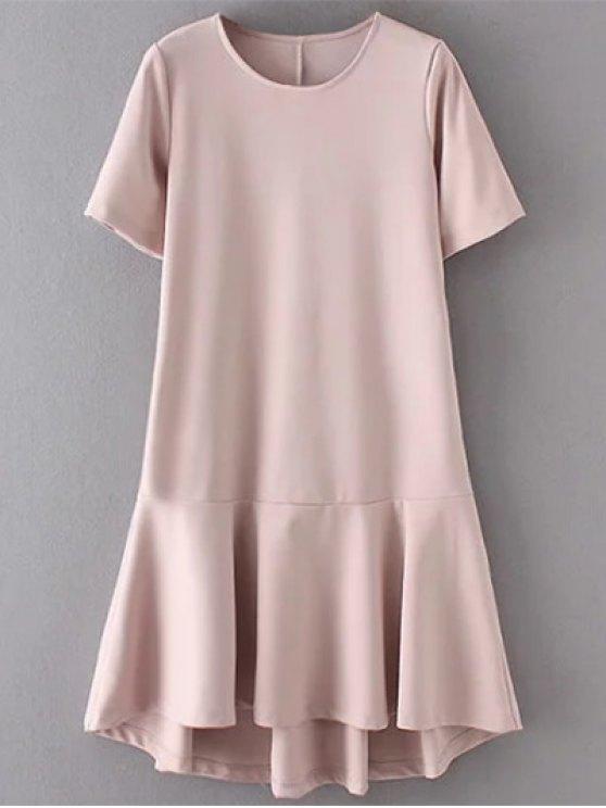 Vestido con Altas Bajas Faldas con Volantes - Color de Raíz de Loto   M