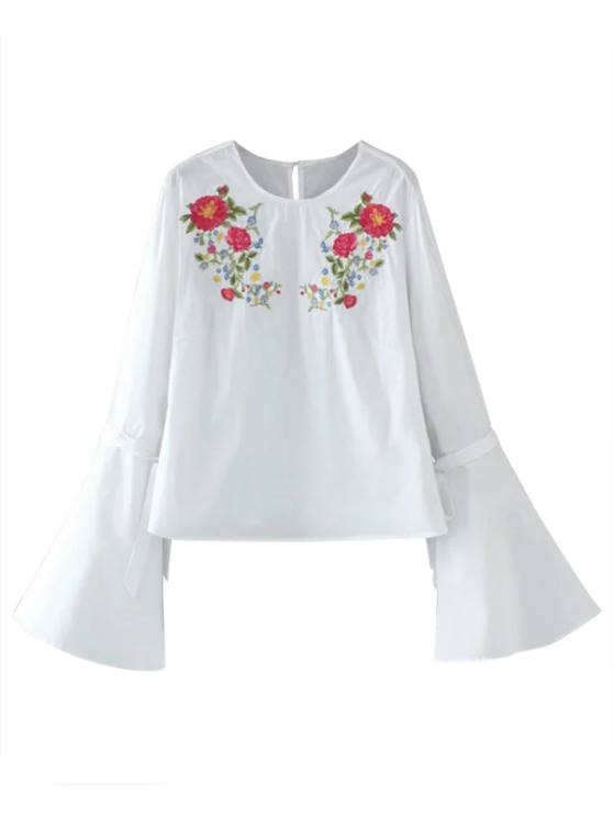 Floral Embroidered Flare Sleeve Blouse - WHITE S Mobile