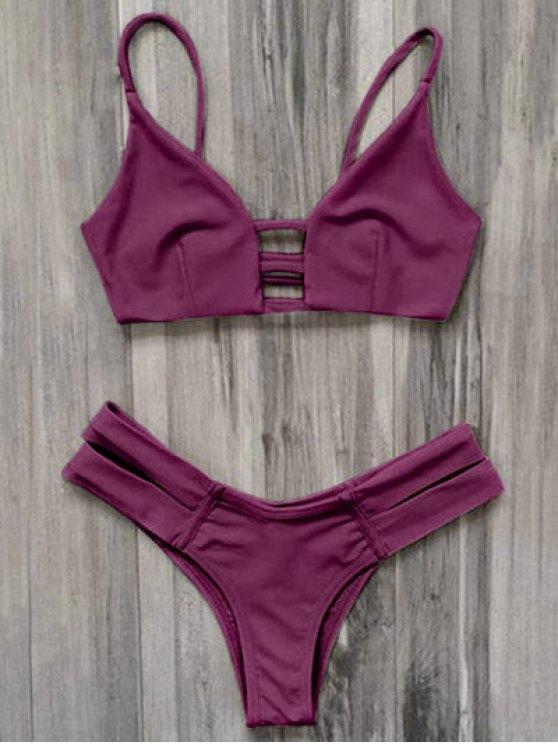 Bikini Traje Baño Vendaje Enjaulado - Burdeos M