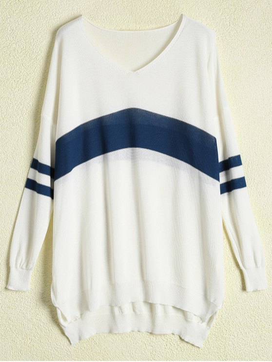unique Long Sleeve Open Knit Sweater - WHITE