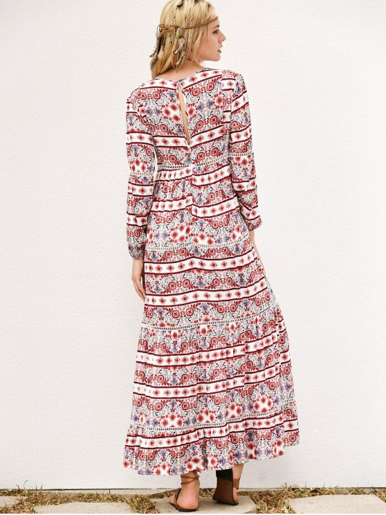 Long Sleeve Tribal Print Maxi Dress - RED L Mobile
