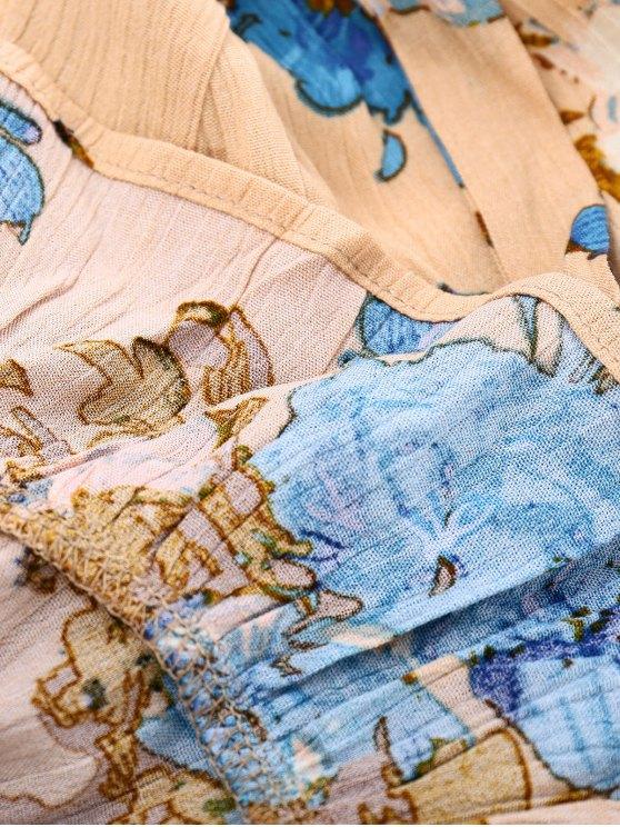 Floral Asymmetrical Maxi Dress - KHAKI S Mobile