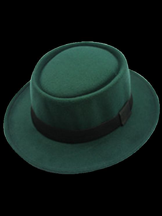 trendy Flat Top Felt Jazz Hat - BLACKISH GREEN
