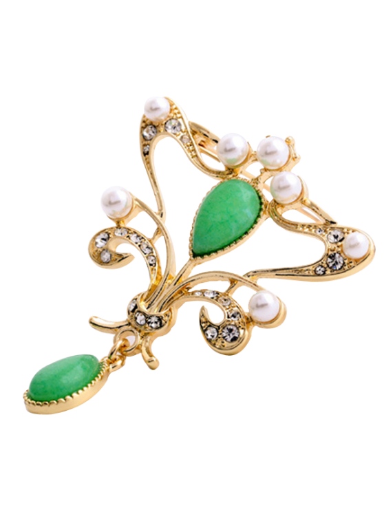 Estilo chino Recortable perlas de imitación Lágrima Broche para las mujeres - Dorado