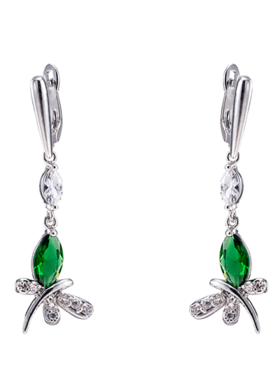 unique Pair of Butterfly Rhinestone Drop Earrings - GREEN