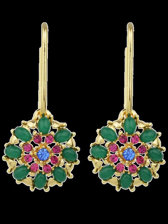 shop Rhinestone Flower Shape Drop Earrings - GREEN