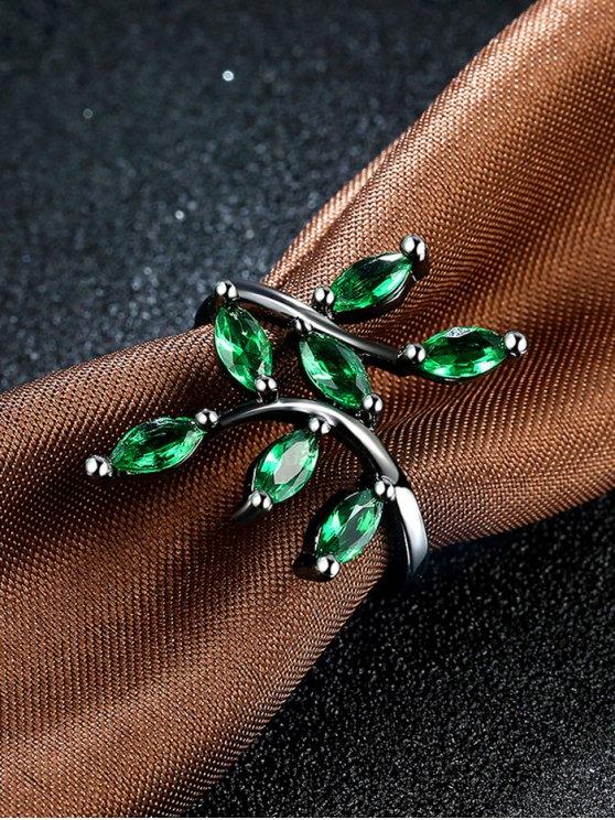Faux Gemstone Leaf Ring - GREEN 7 Mobile