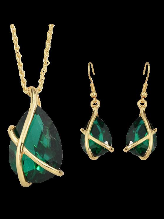 Un Juego de collar de la gota de agua cristalina de imitación de la vendimia y pendientes para las mujeres - Verde