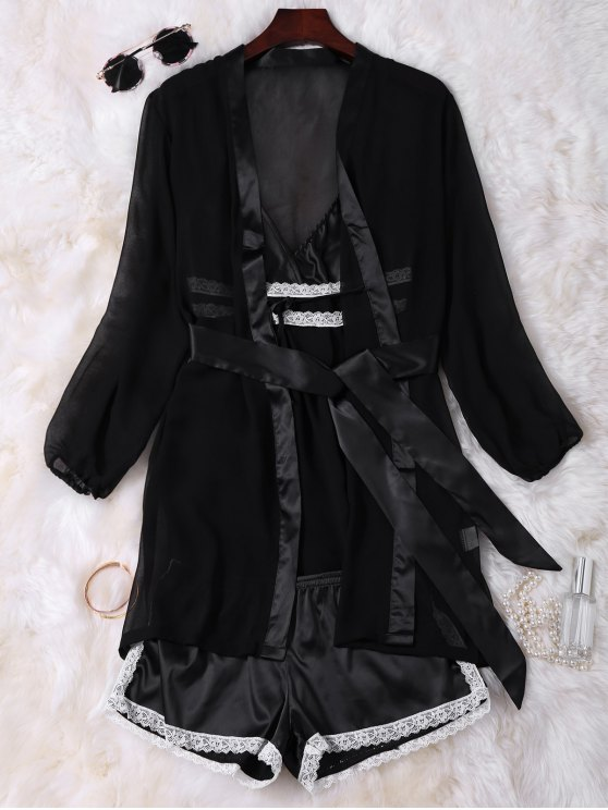 Satin Cami Babydoll with Kimono with Shorts - BLACK ONE SIZE Mobile