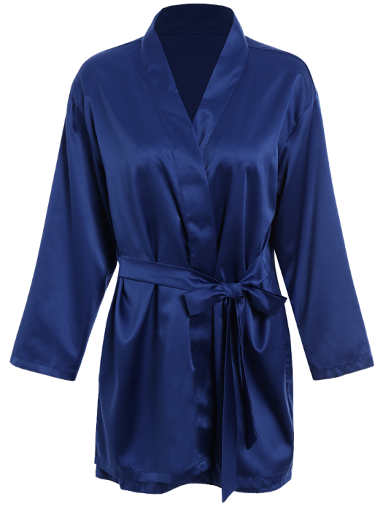 Lace Panel Satin Babydoll with Kimono - BLUE M Mobile