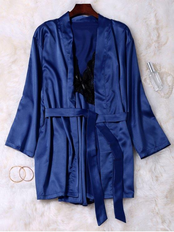 Lace Panel Satin Babydoll with Kimono - BLUE M Mobile