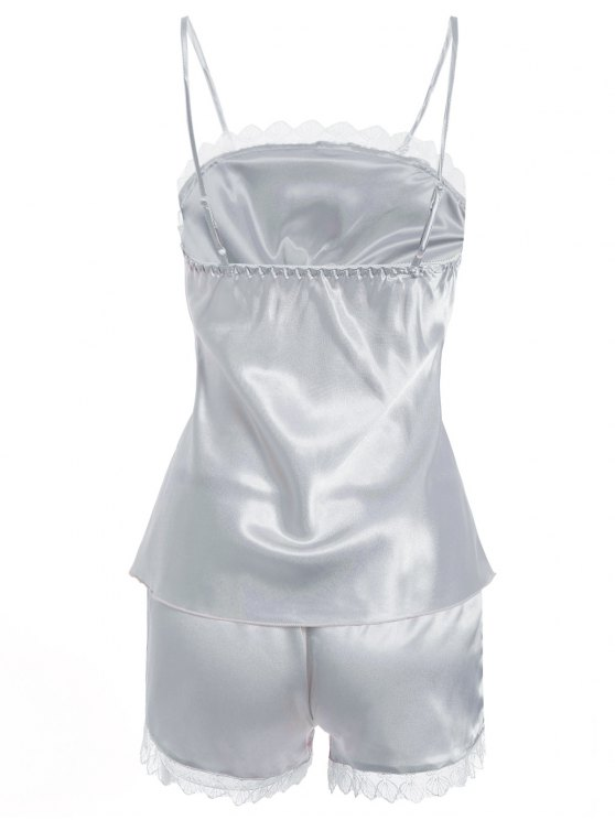 Faux Silk Cami Top and Shorts Sleepwear - SILVER M Mobile