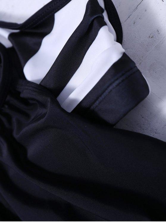 Striped Blouson Tankini Swimsuit - BLACK S Mobile
