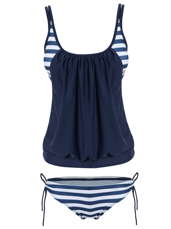 outfits Striped Blouson Tankini Swimsuit - NAVY BLUE L