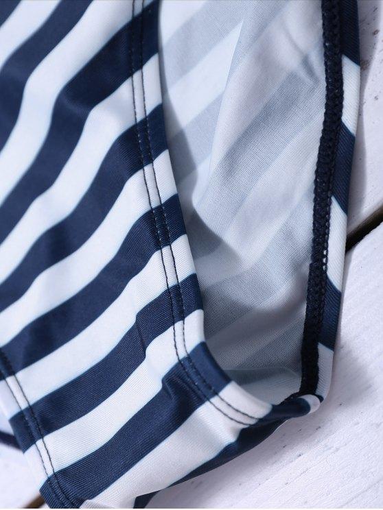 Striped Blouson Tankini Swimsuit - NAVY BLUE 2XL Mobile