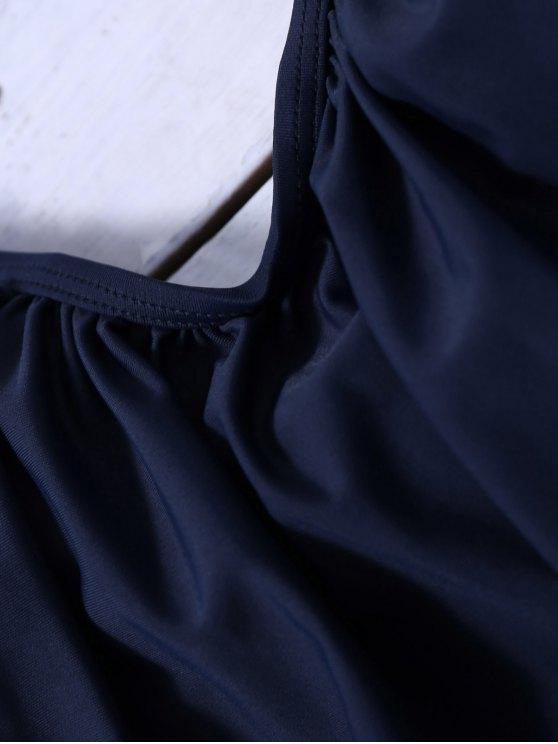 Striped Blouson Tankini Swimsuit - NAVY BLUE XL Mobile