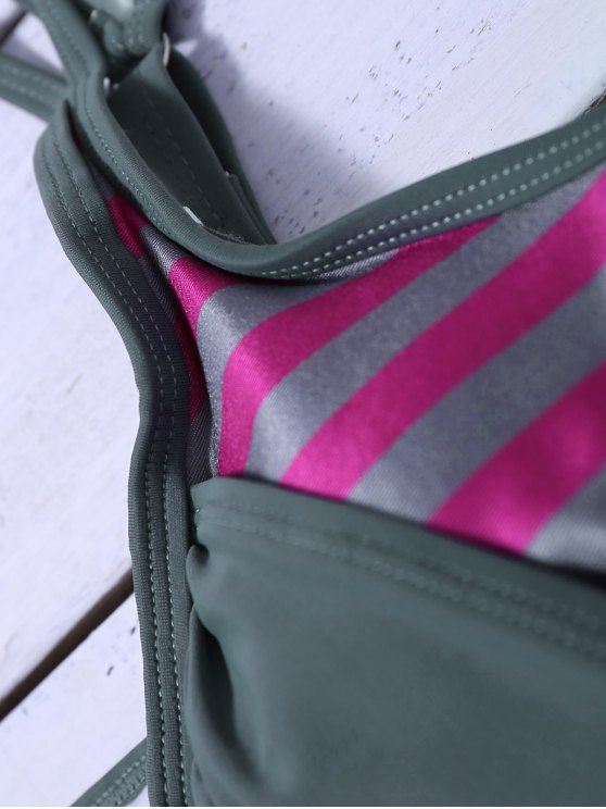 Striped Blouson Tankini Swimsuit - GRAY M Mobile