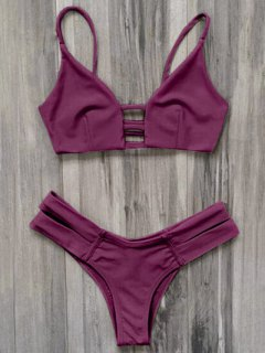 Caged Bandage Bikini Swimwear - Burgundy M