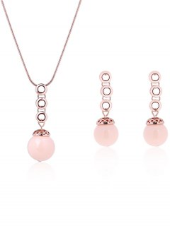 Torus Bead Embellished Necklace And Earrings - Rose Gold