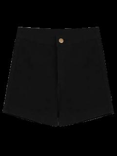 High Waisted Denim Shorts - Black L