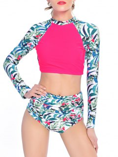 Leaf Print High Waisted Cropped Rashguard Bikini - Rose Red Xl