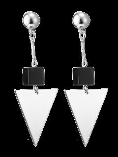 Faux Agate Geometric Earrings - Silver