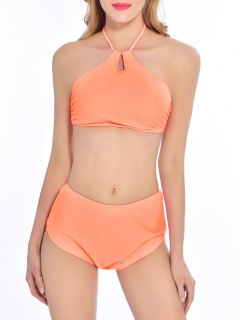 Padded High Waisted Bikini - Orange Xl