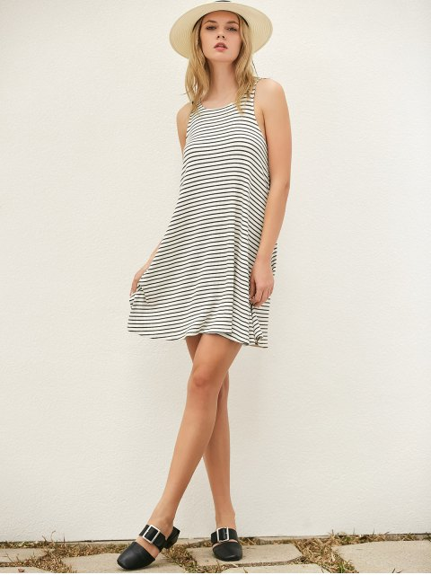 affordable Striped Cut Out Casual T-Shirt Dress - WHITE AND BLACK M Mobile
