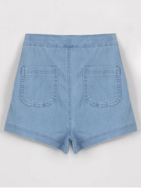 trendy High Waisted Denim Shorts - LIGHT BLUE L Mobile