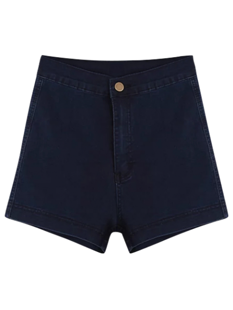 unique High Waisted Denim Shorts - PURPLISH BLUE M Mobile