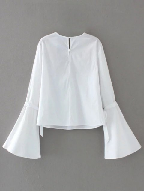 women Floral Embroidered Flare Sleeve Blouse - WHITE S Mobile