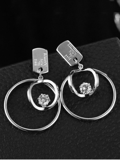 lady Circle Rhinestone Earrings - SILVER  Mobile