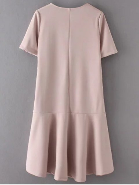 unique Ruffle Hem High Low Dress - PALE PINKISH GREY L Mobile