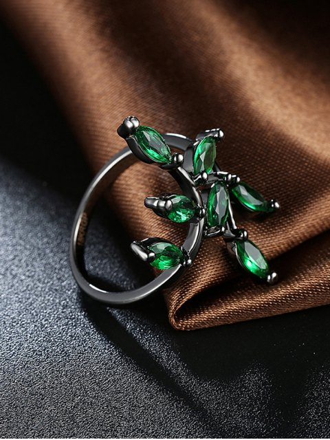 fancy Faux Gemstone Leaf Ring - GREEN 6 Mobile