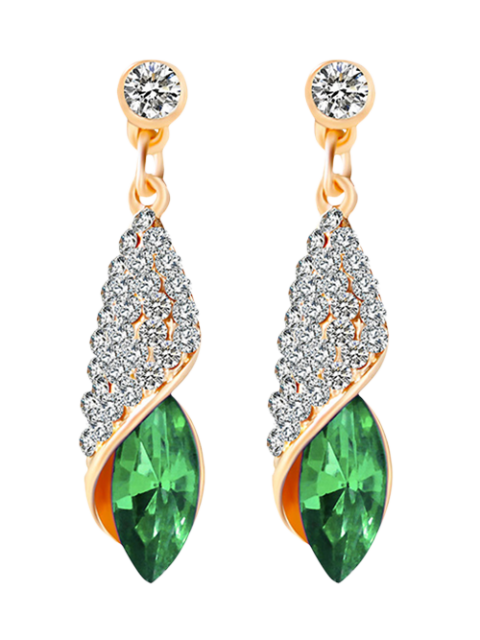 chic Rhinestoned Faux Crystal Oval Drop Earrings - GREEN  Mobile
