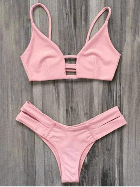 womens Caged Bandage Bikini Swimwear - SHALLOW PINK S Mobile