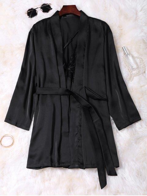 new Lace Panel Satin Babydoll with Kimono - BLACK M Mobile